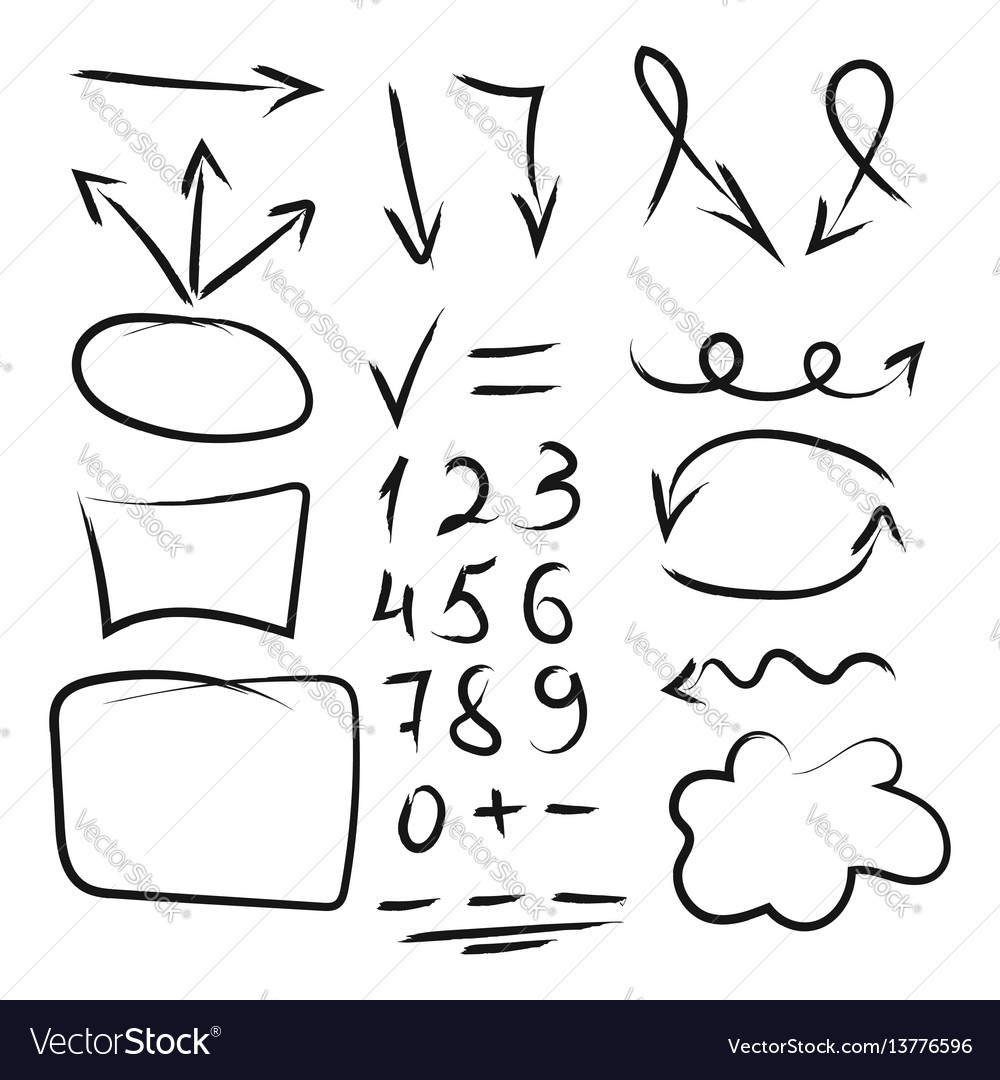 Set of hand drawn arrows circle and squares for vector image