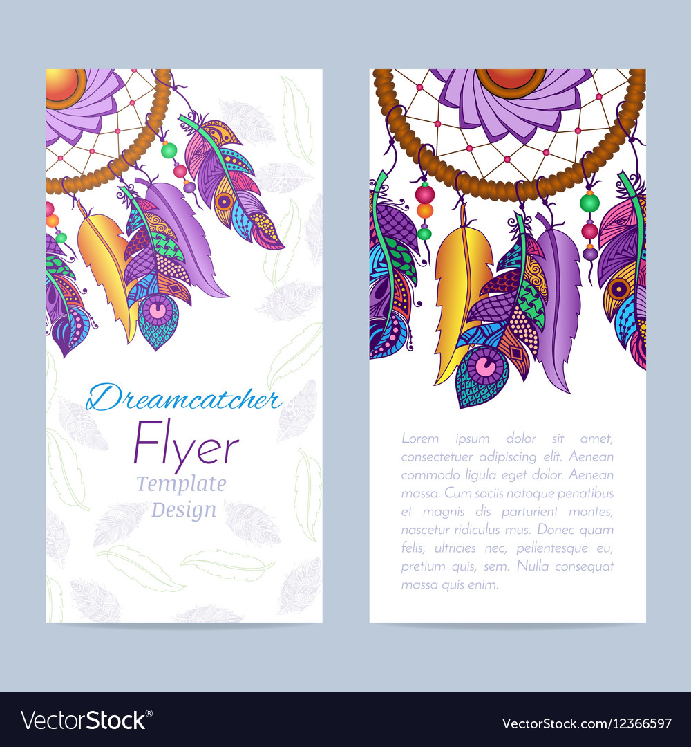 Flyer with Hand drawn dreamcatcher and feathers vector image