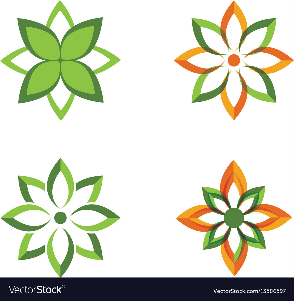 Logos of green leaf ecology nature element vector image