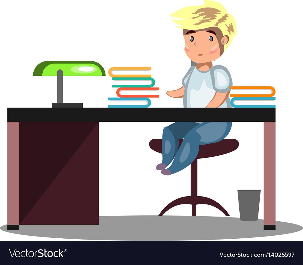 Man sitting at a desk vector image