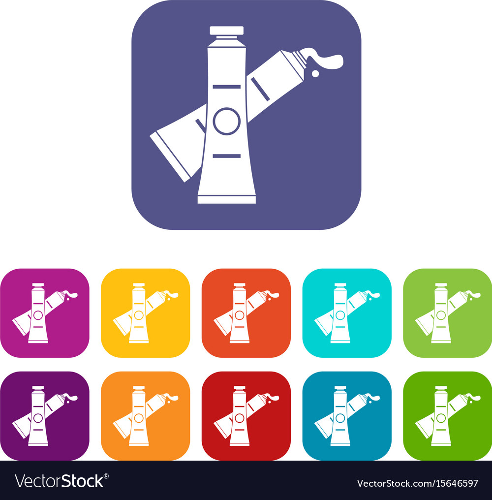 Oil paints icons set flat vector image