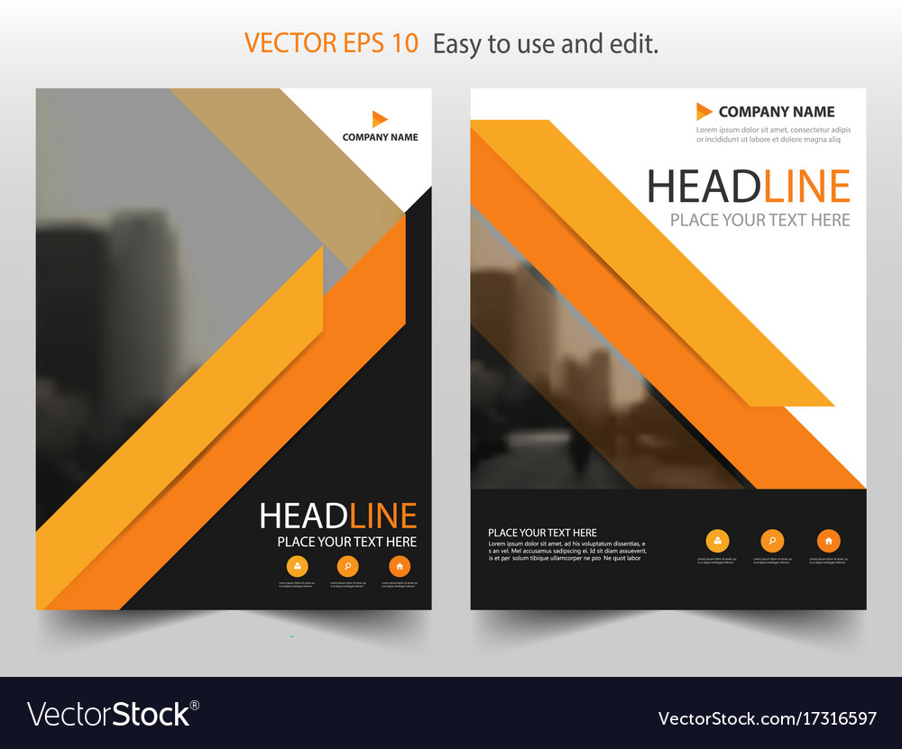 Orange black brochure annual report leaflet vector image