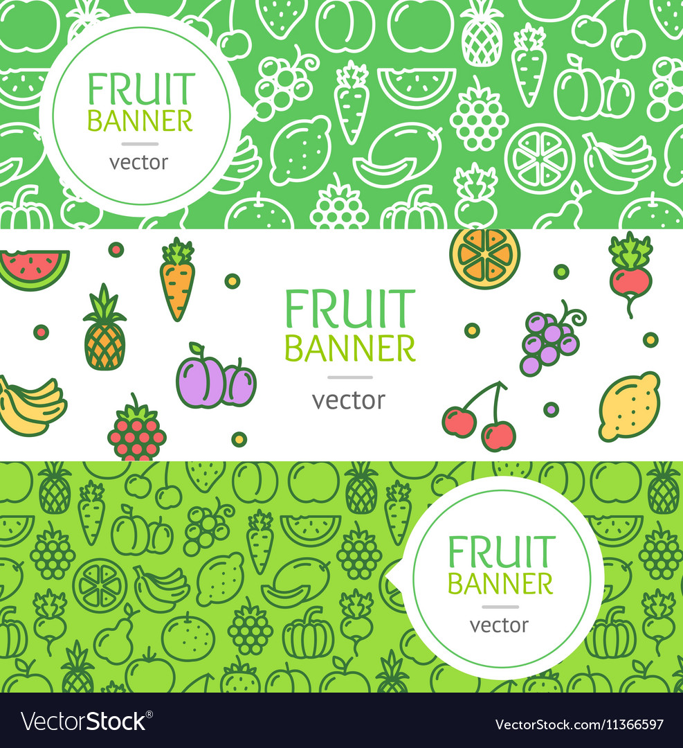 Vegan Banner Flyer Horizontal Set vector image