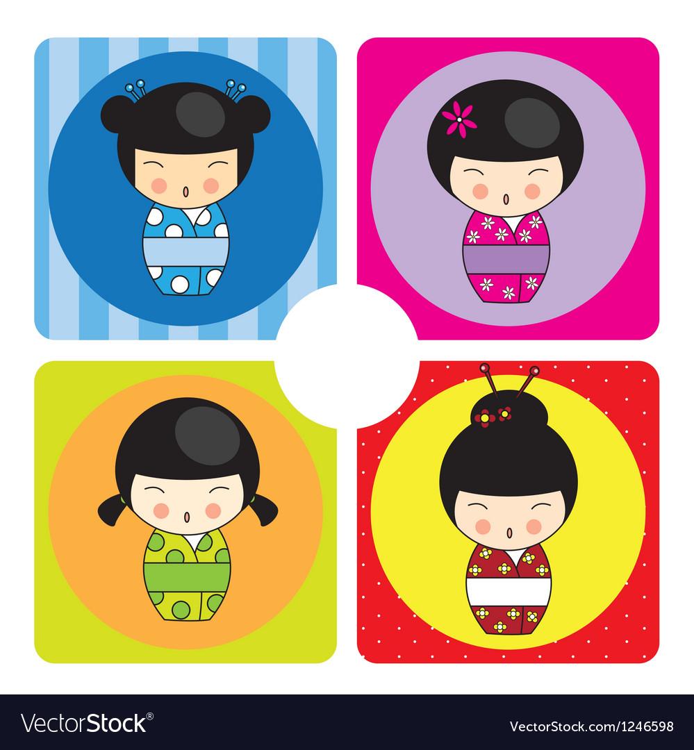 Kokeshi dolls in various designs vector image