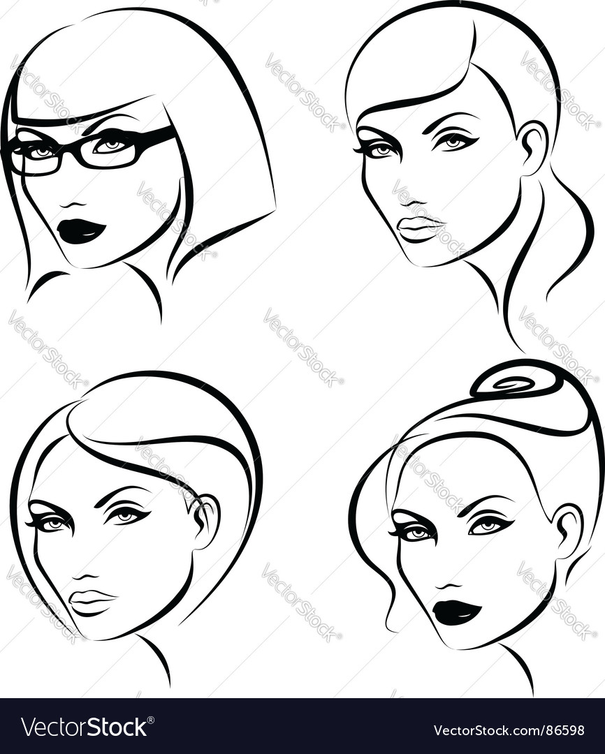 Hairstyles and makeup vector image