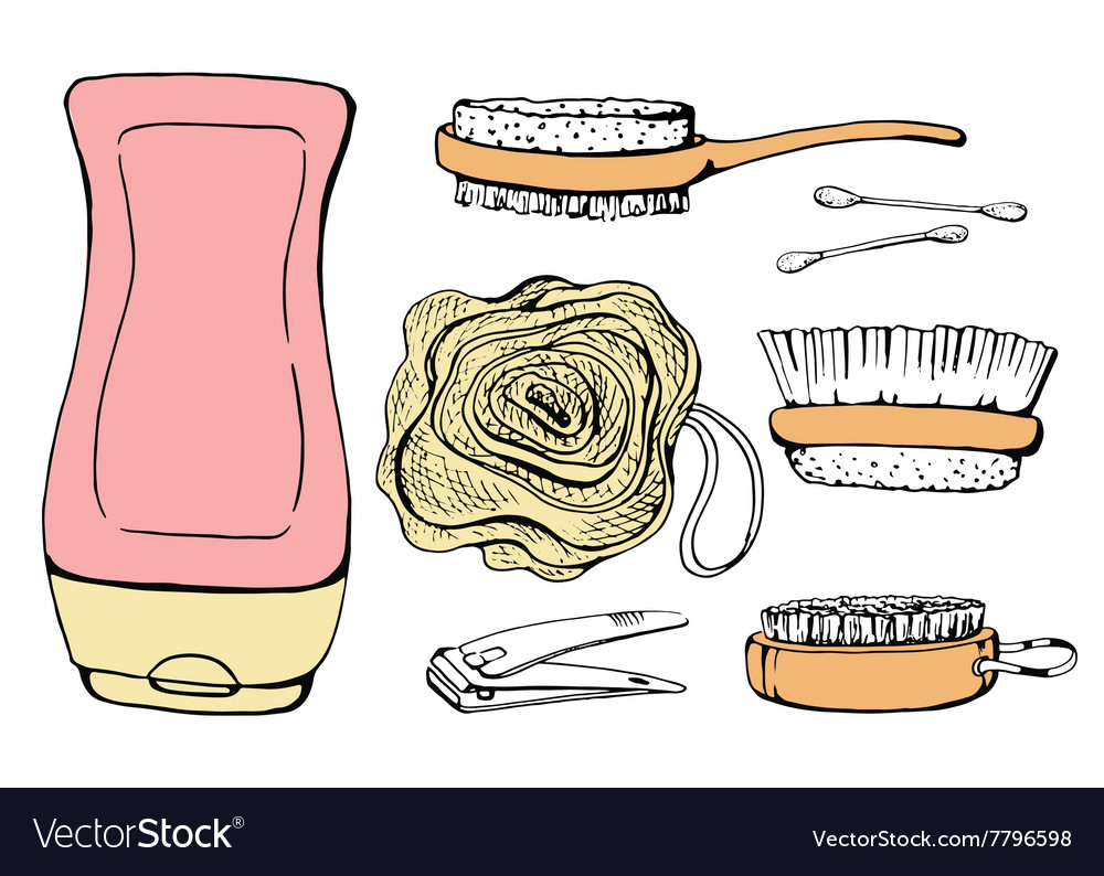 Shower accessories for skin vector image
