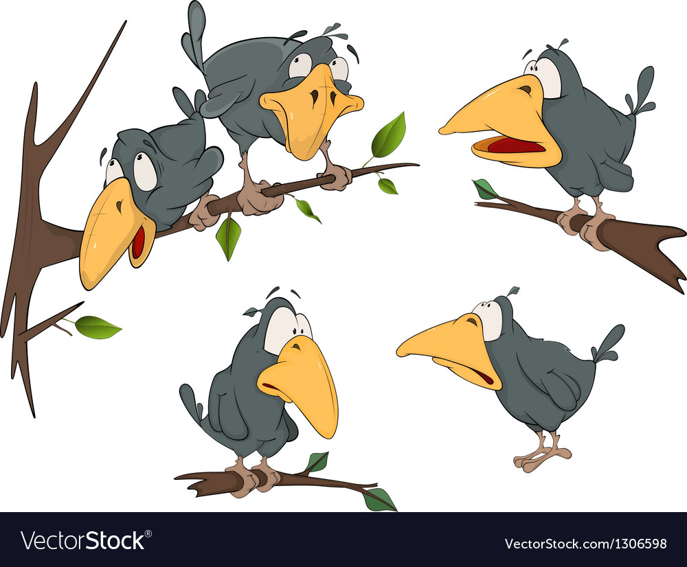 The complete set cheerful a raven vector image