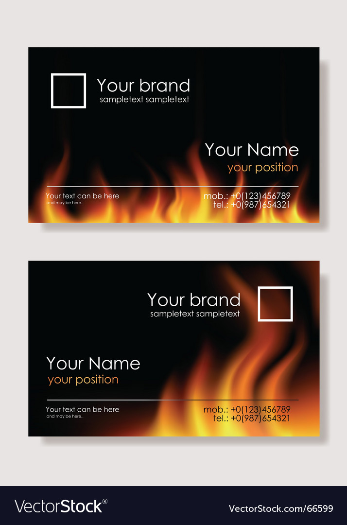 Fire business cards vector image