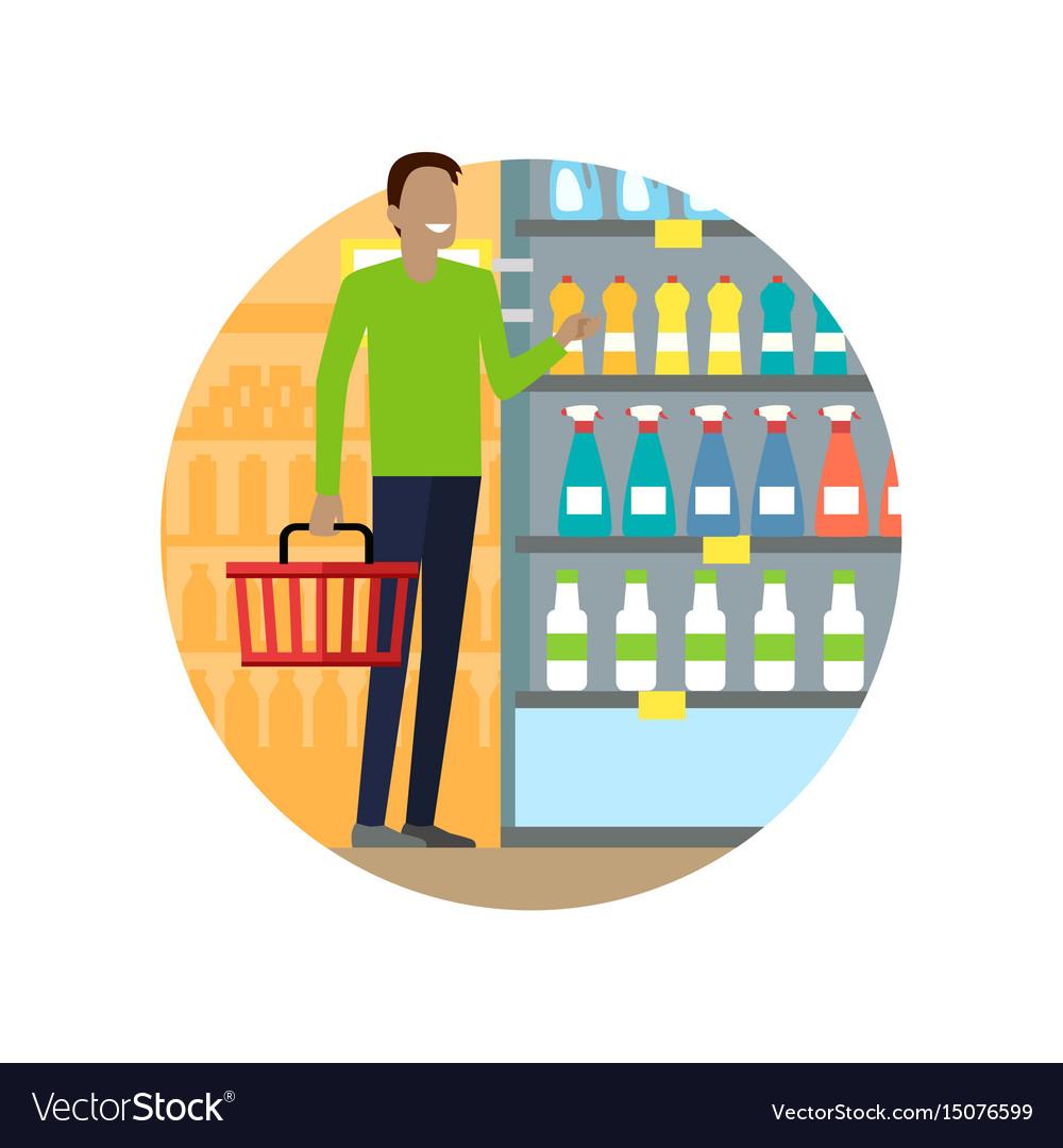 People in supermarket interior design vector image