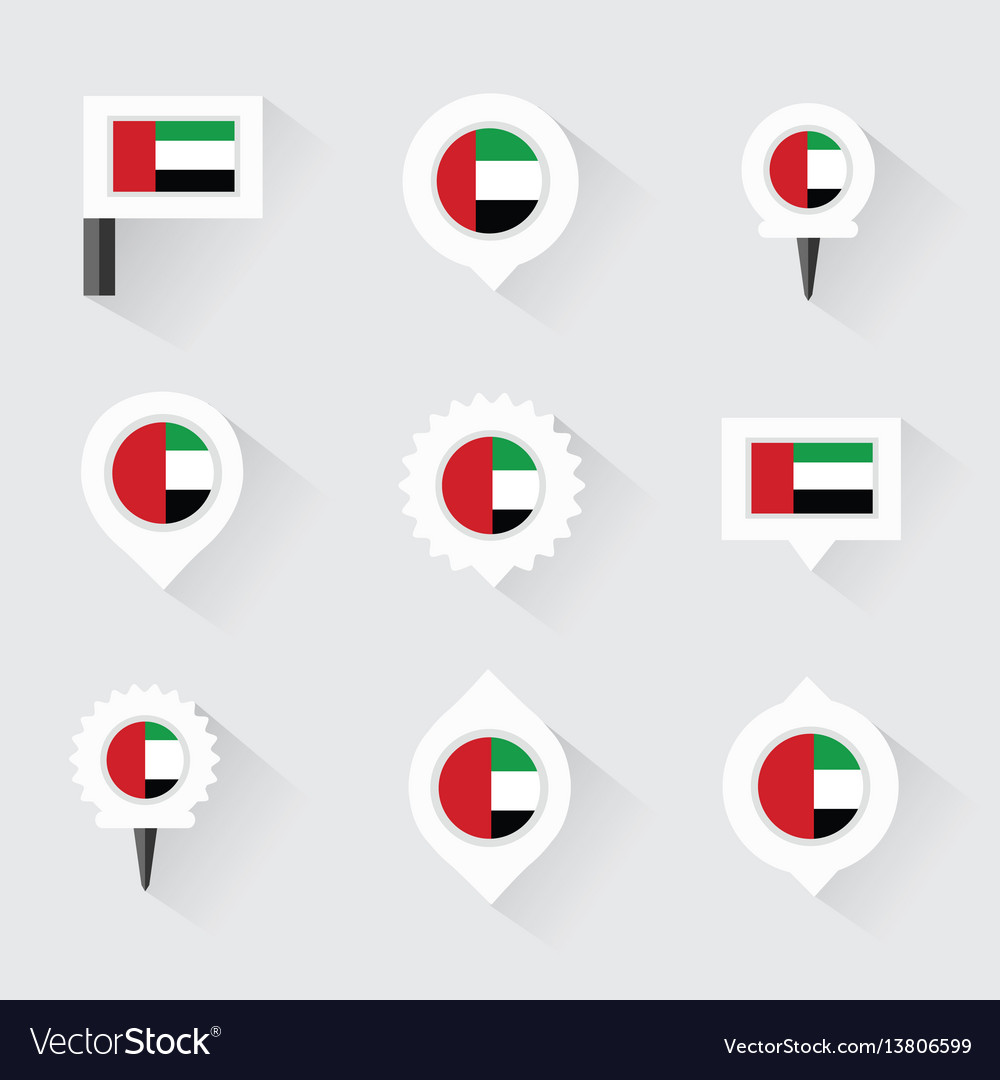 United arab emirates flag and pins for vector image