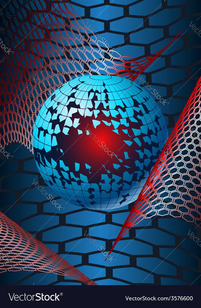 Broken globe in hex webs vector image