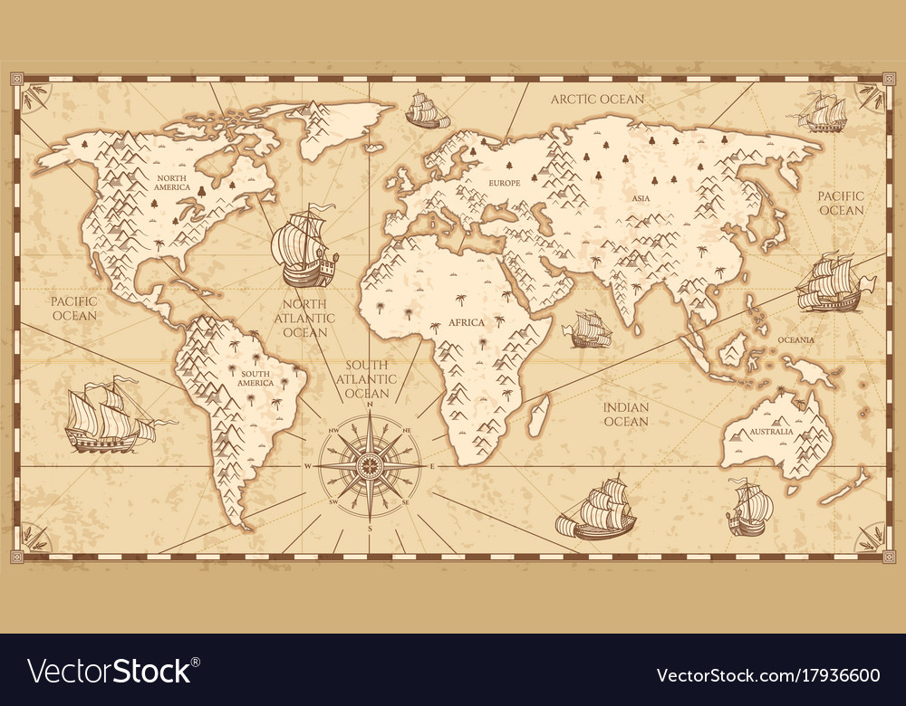 Vintage physical world map with rivers and vector image gumiabroncs Image collections