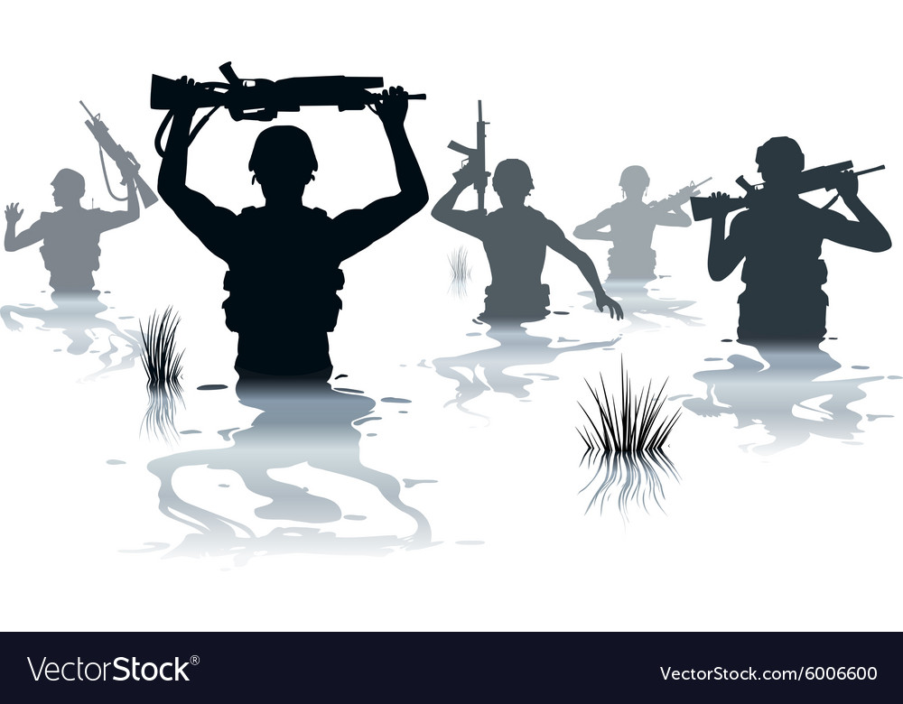 Wading soldiers vector image