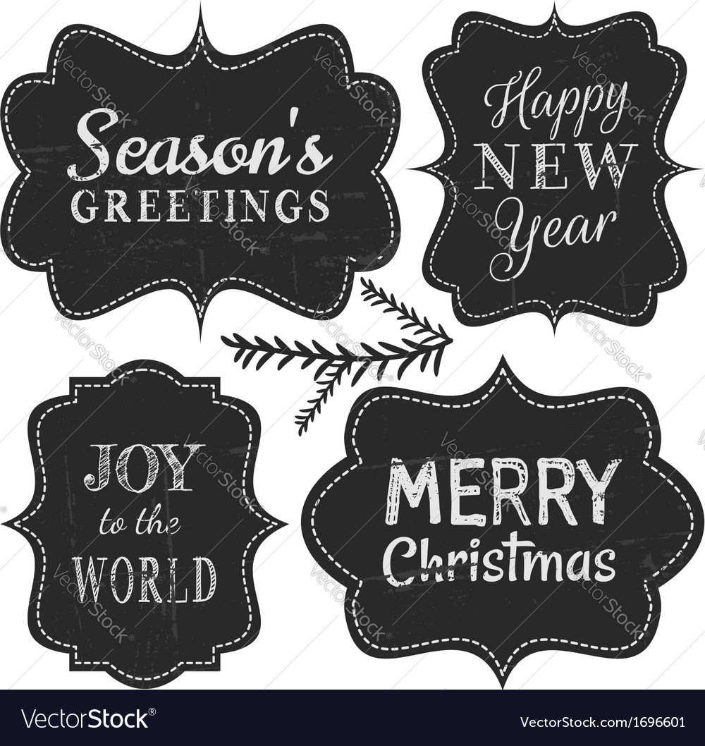 Chalkboard style vintage labels for christmas vector image