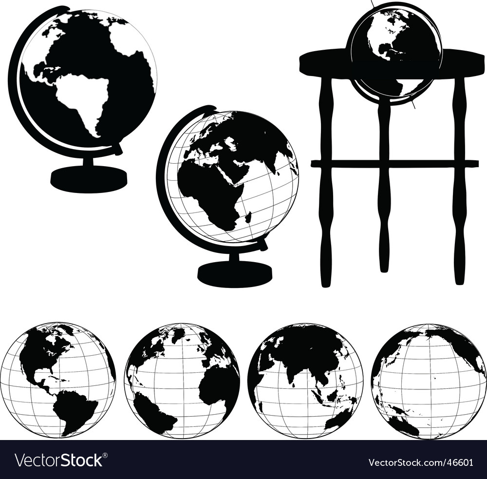 Globes silhouettes vector image
