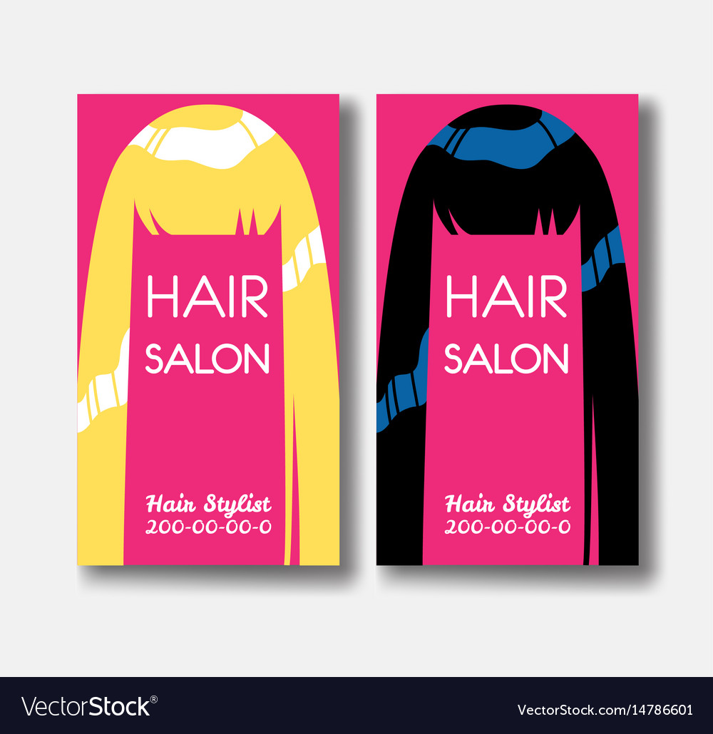 Hair Salon Business Card Templates With Blonde Vector Image - Hair salon business card template