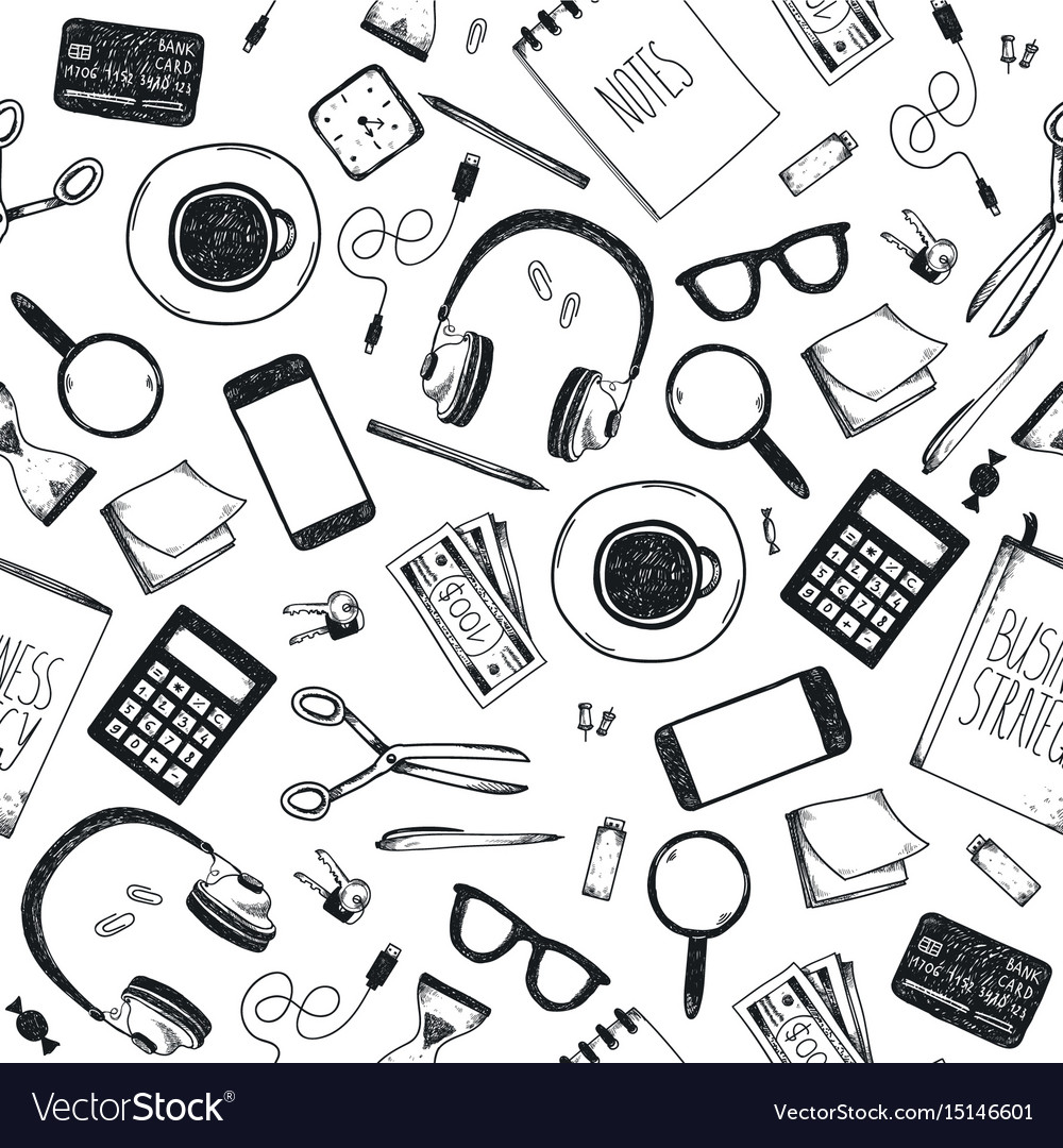 Set of hand drawn office tools freelance vector image