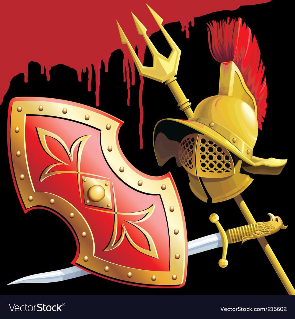Gladiators armament vector image