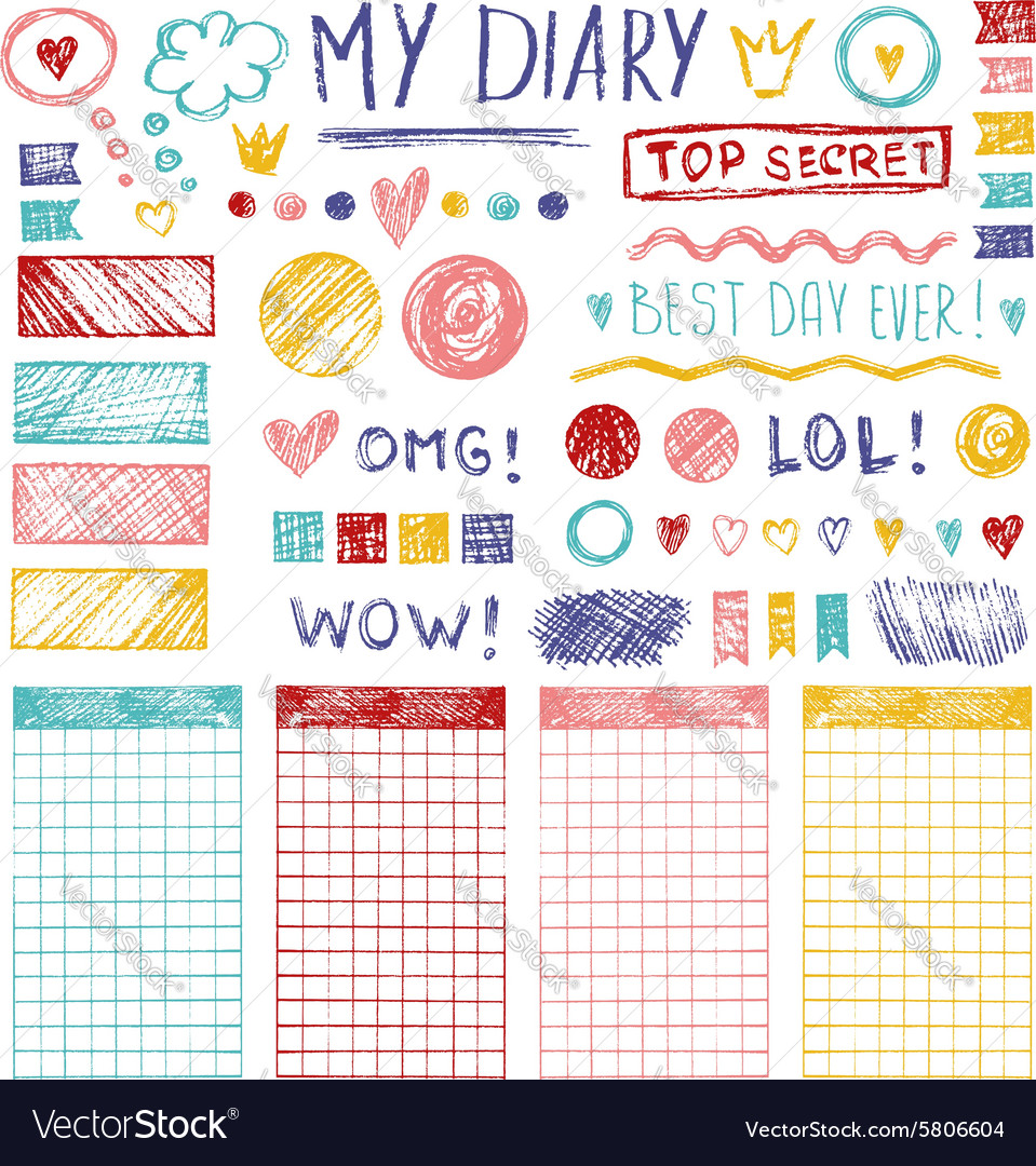 Hand drawn sketch elements for girl diary vector image