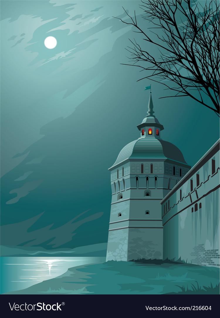 Moonlight castle vector image