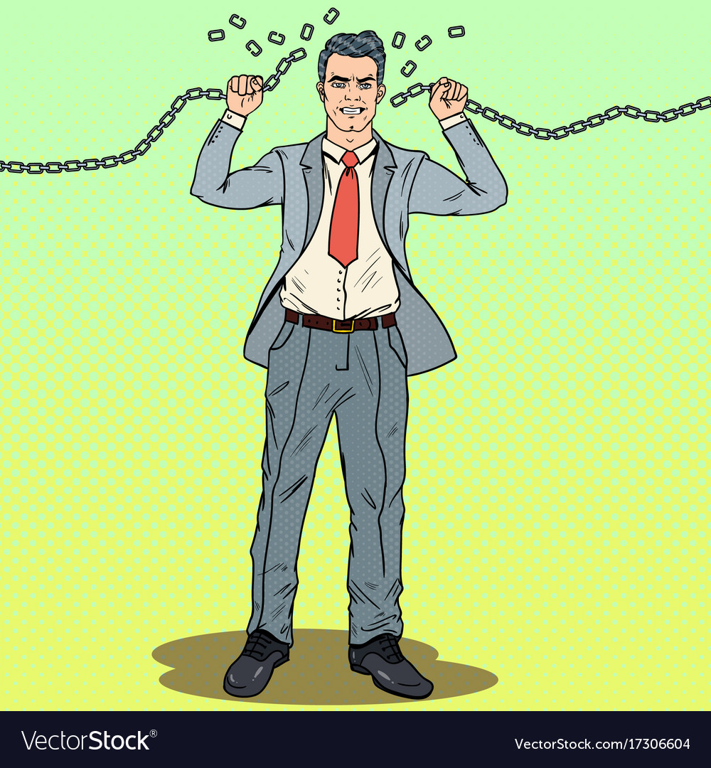 Pop art strong businessman breaks the chains vector image