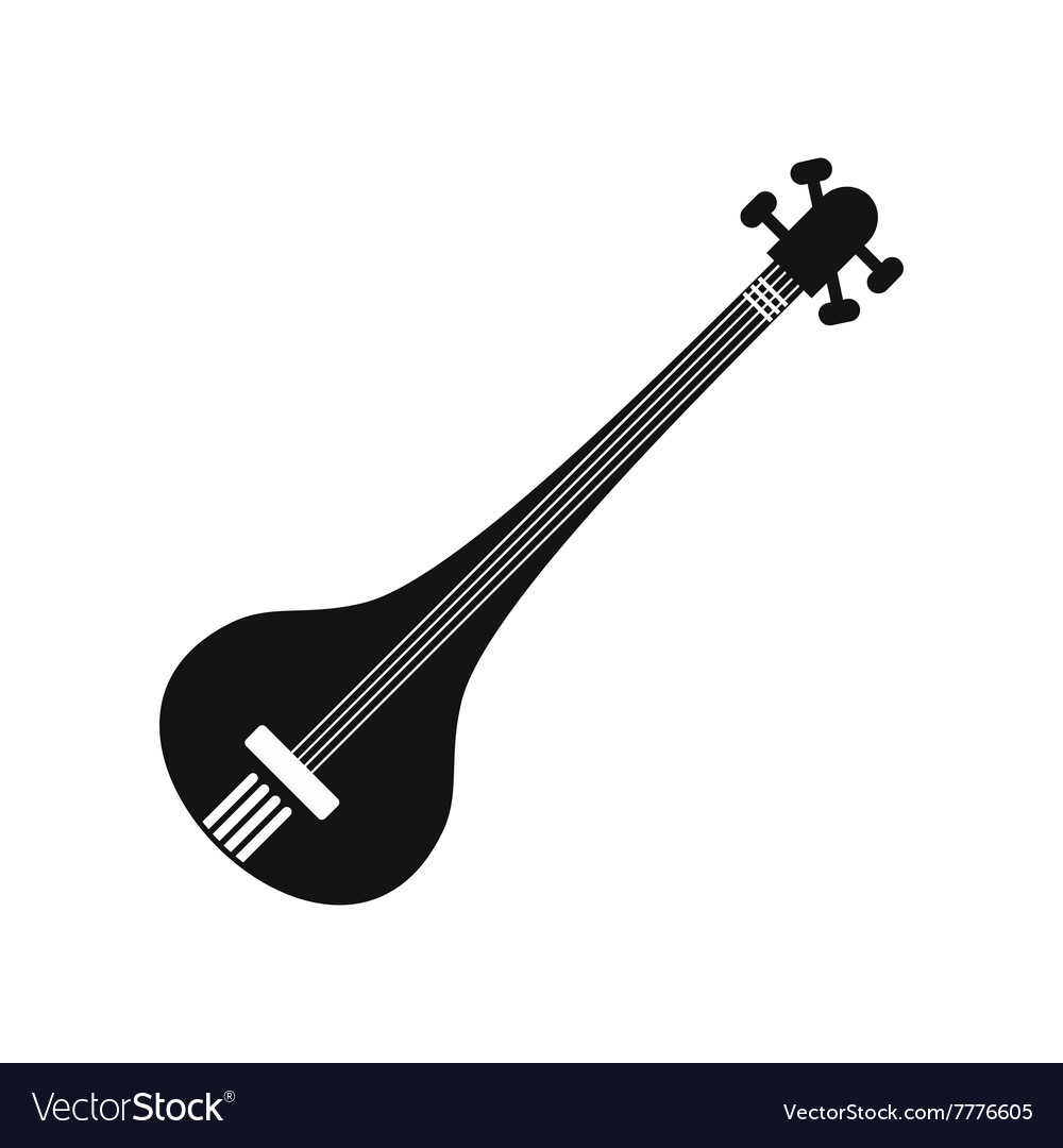 Traditional Indian sarod icon simple style vector image