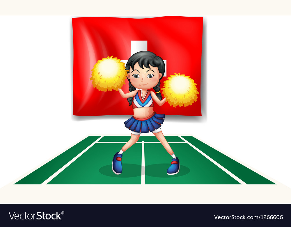 A cheerleader dancing in front of the Switzerland vector image