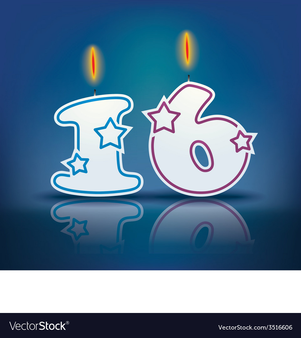 Birthday candle number 16 vector image