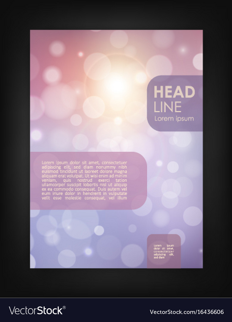 Brochure design template with bokeh backgrounds vector image