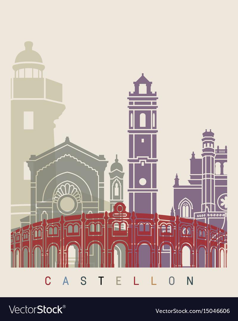 Castellon skyline poster vector image