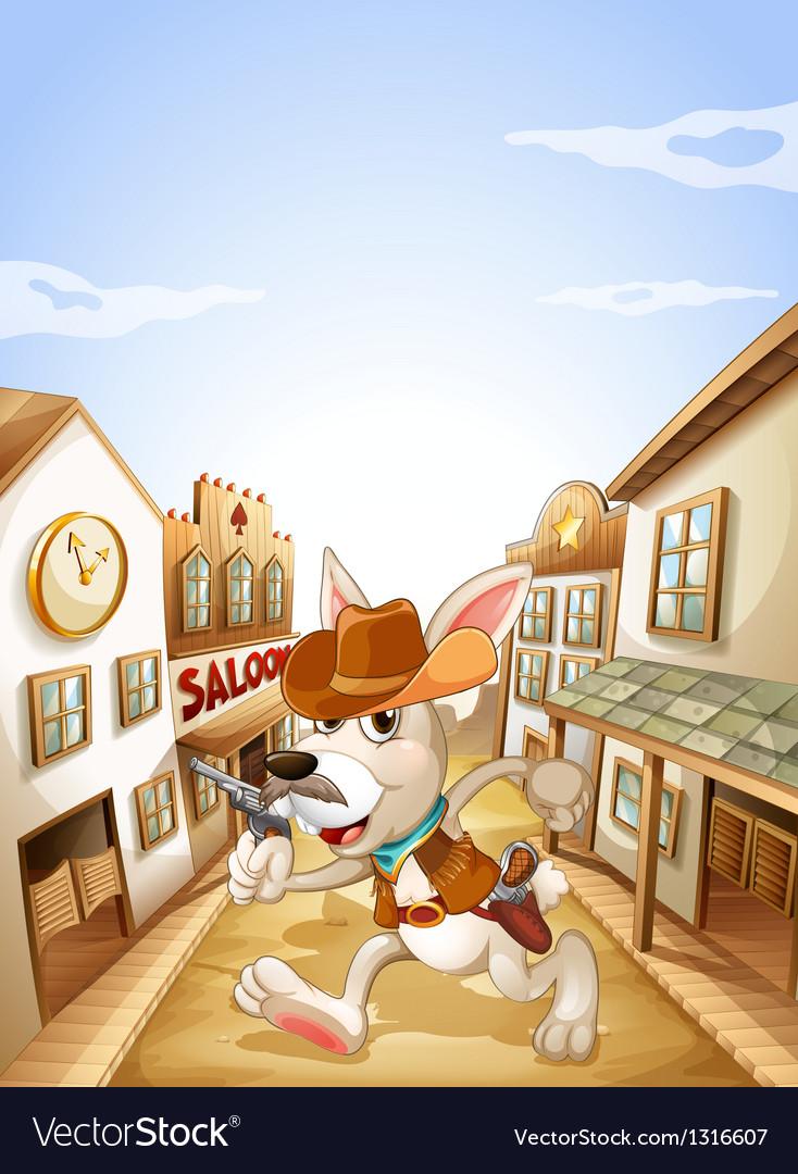 A bunny holding a gun vector image