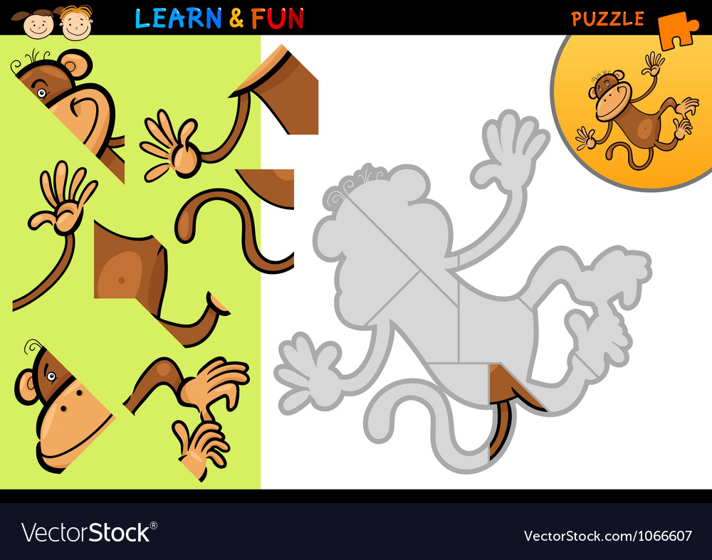 Cartoon monkey puzzle game vector image