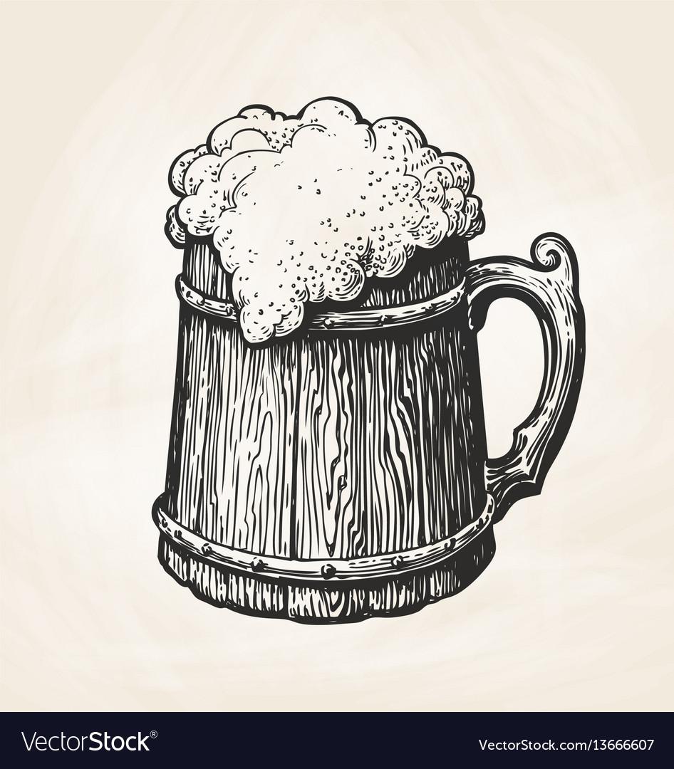 Hand-drawn vintage wooden mug with foam sketch vector image
