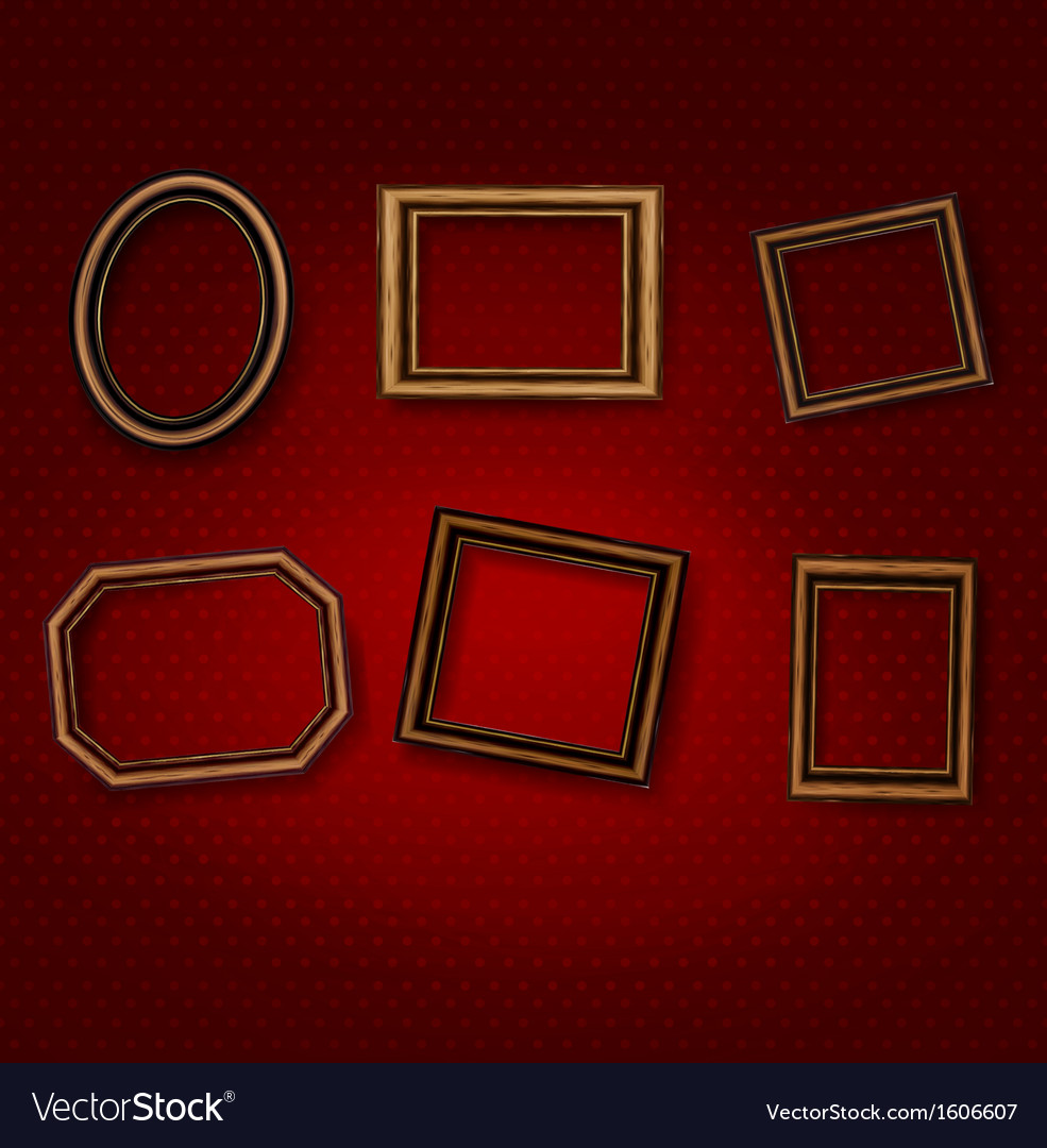 Wooden vintage frames on old wall vector image