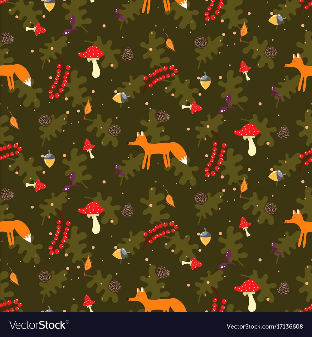 Rustic cartoon autumn forest seamless vector image