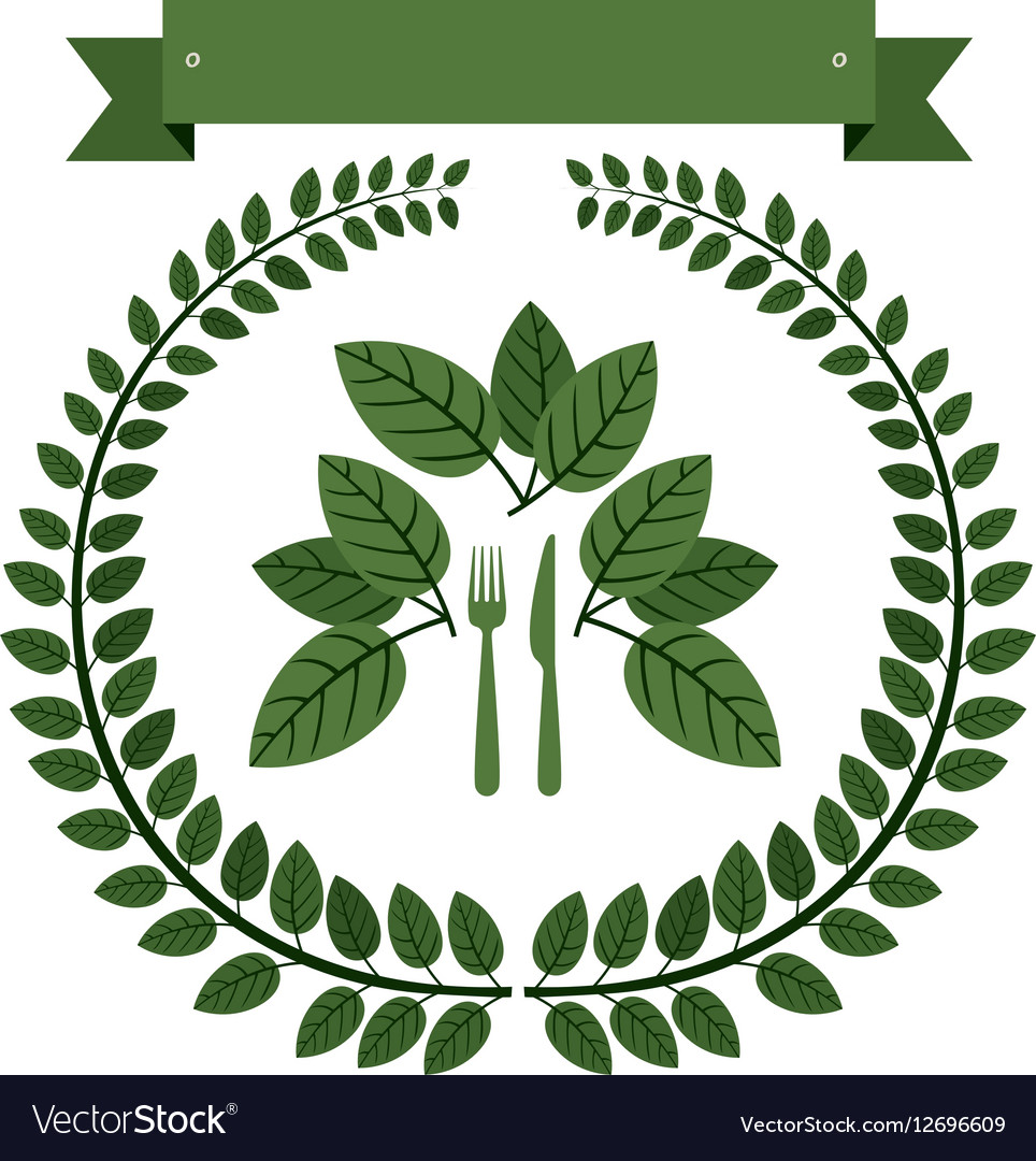 Crown of leaves with silverware and label vector image