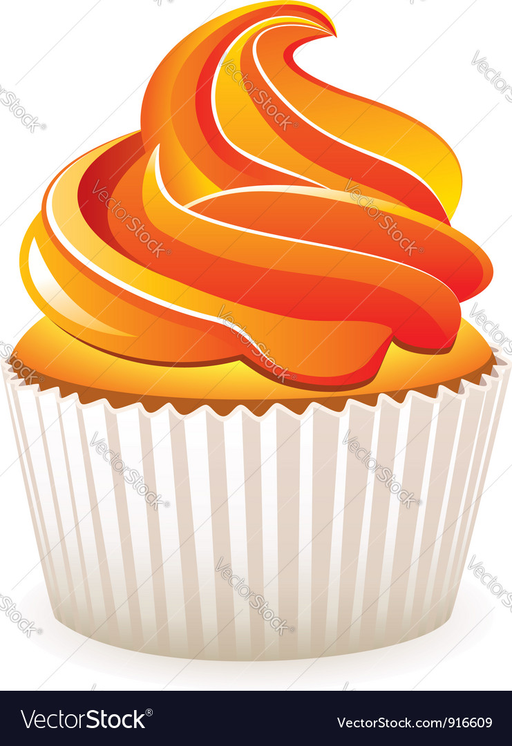Cupcake with orange cream vector image