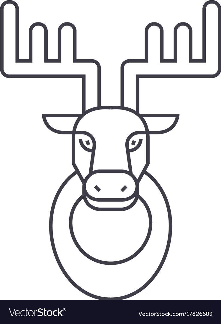Deer head line icon sign on vector image