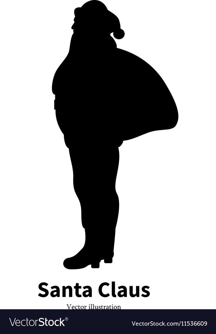 Silhouette of Santa Claus vector image