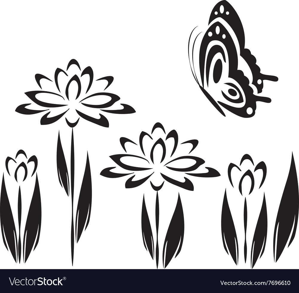 Black butterfly and flowers 2 vector image