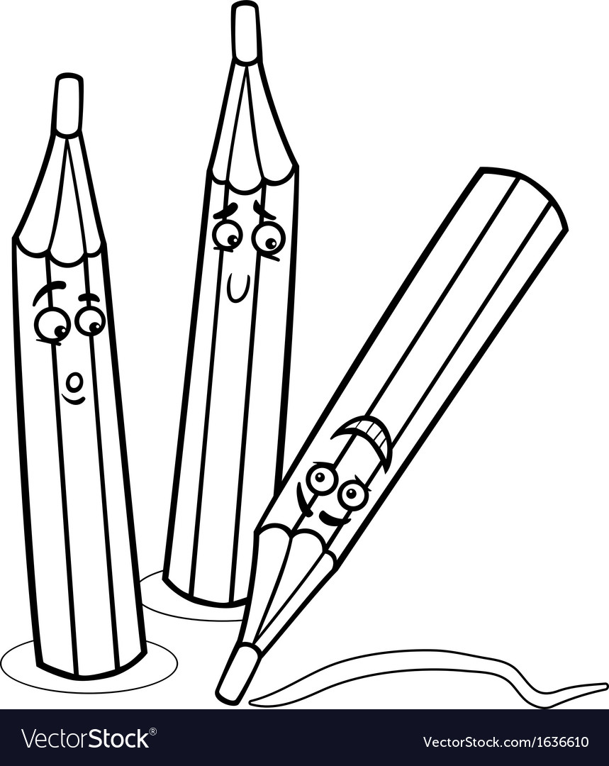 Crayons cartoon coloring page Royalty Free Vector Image