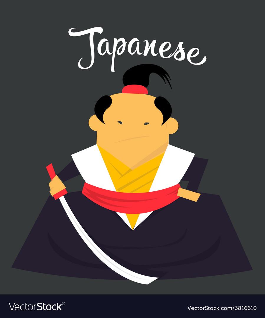 Japanese man character monk or samurai citizen of vector image