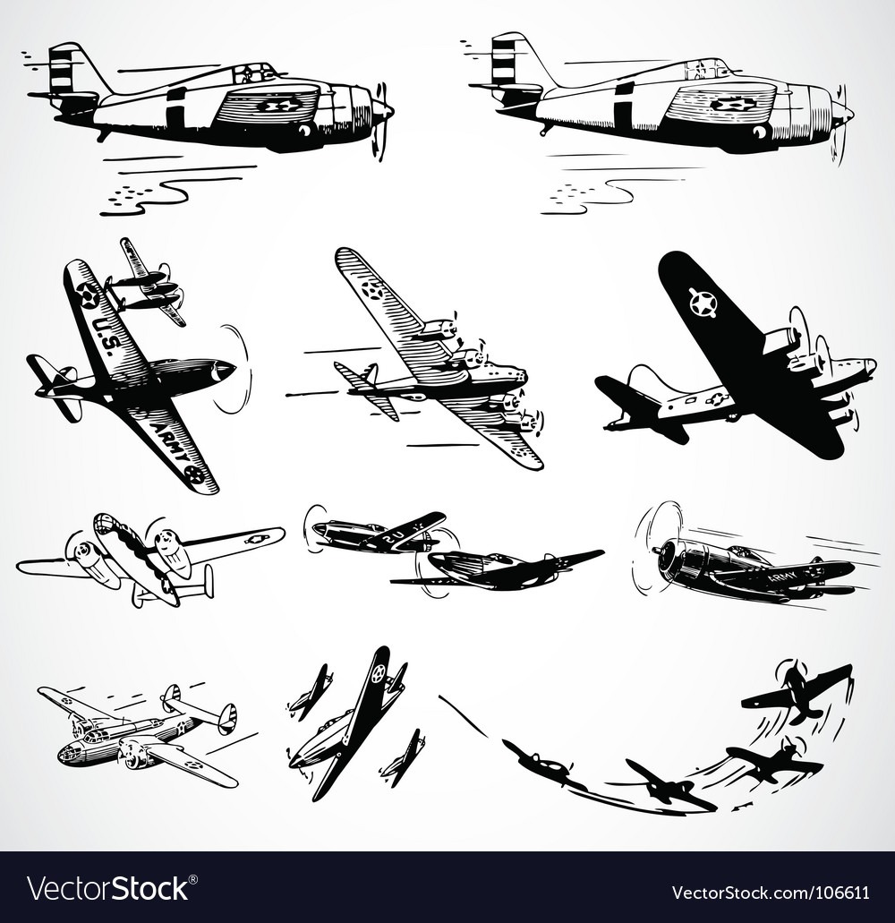 Military planes vector image
