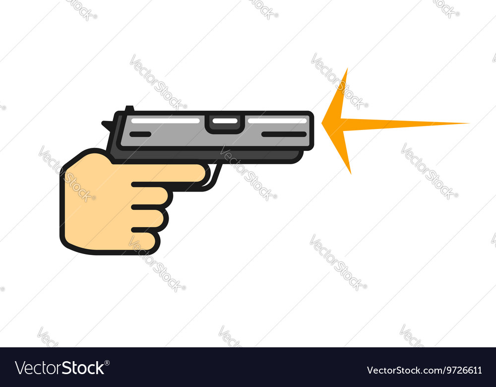 Hand holding gun shooting icon vector image