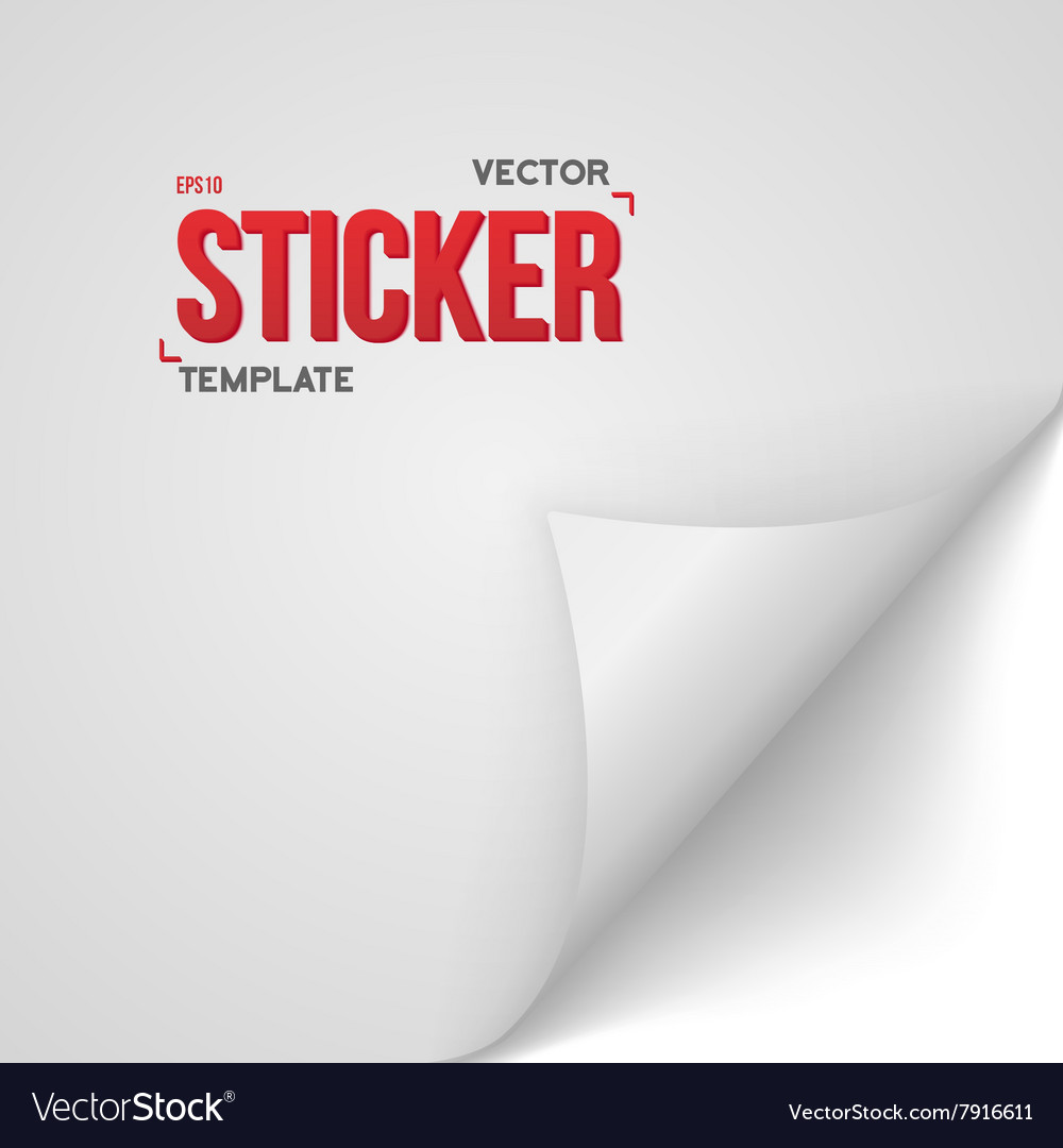 White Paper Sticker Bended Page Sticker vector image