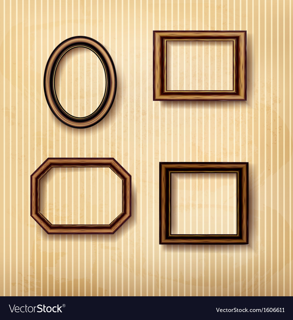 vintage wall frames. Wooden vintage frames on old wall vector image Royalty Free Vector Image