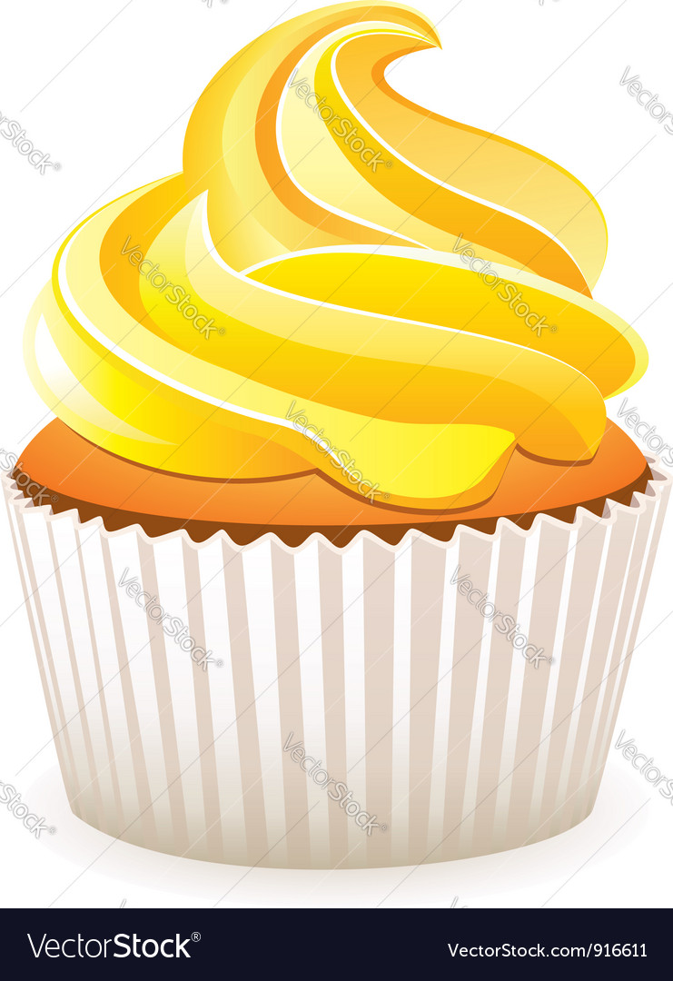 Yellow cupcake vector image