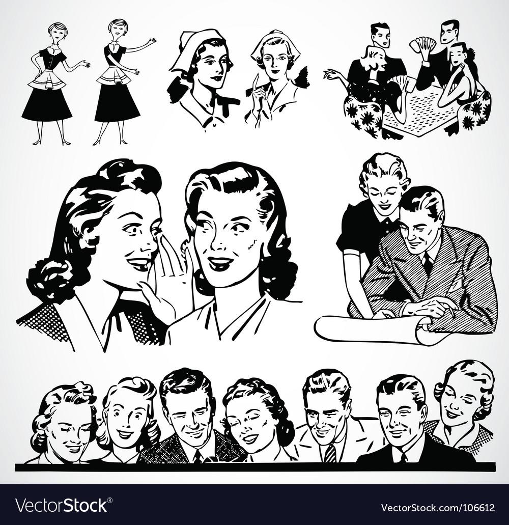 Retro men and women vector image