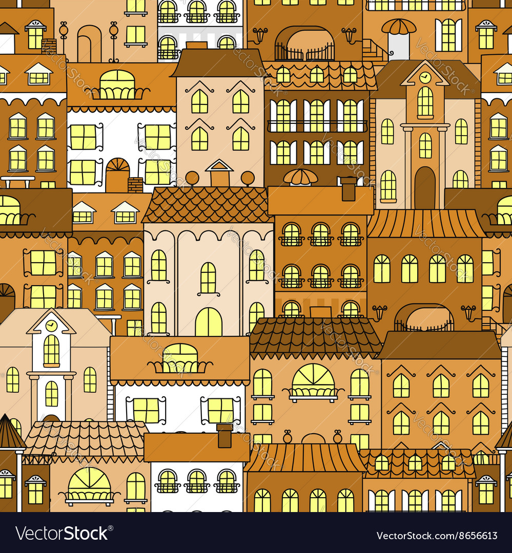 Old town vintage seamless pattern background vector image