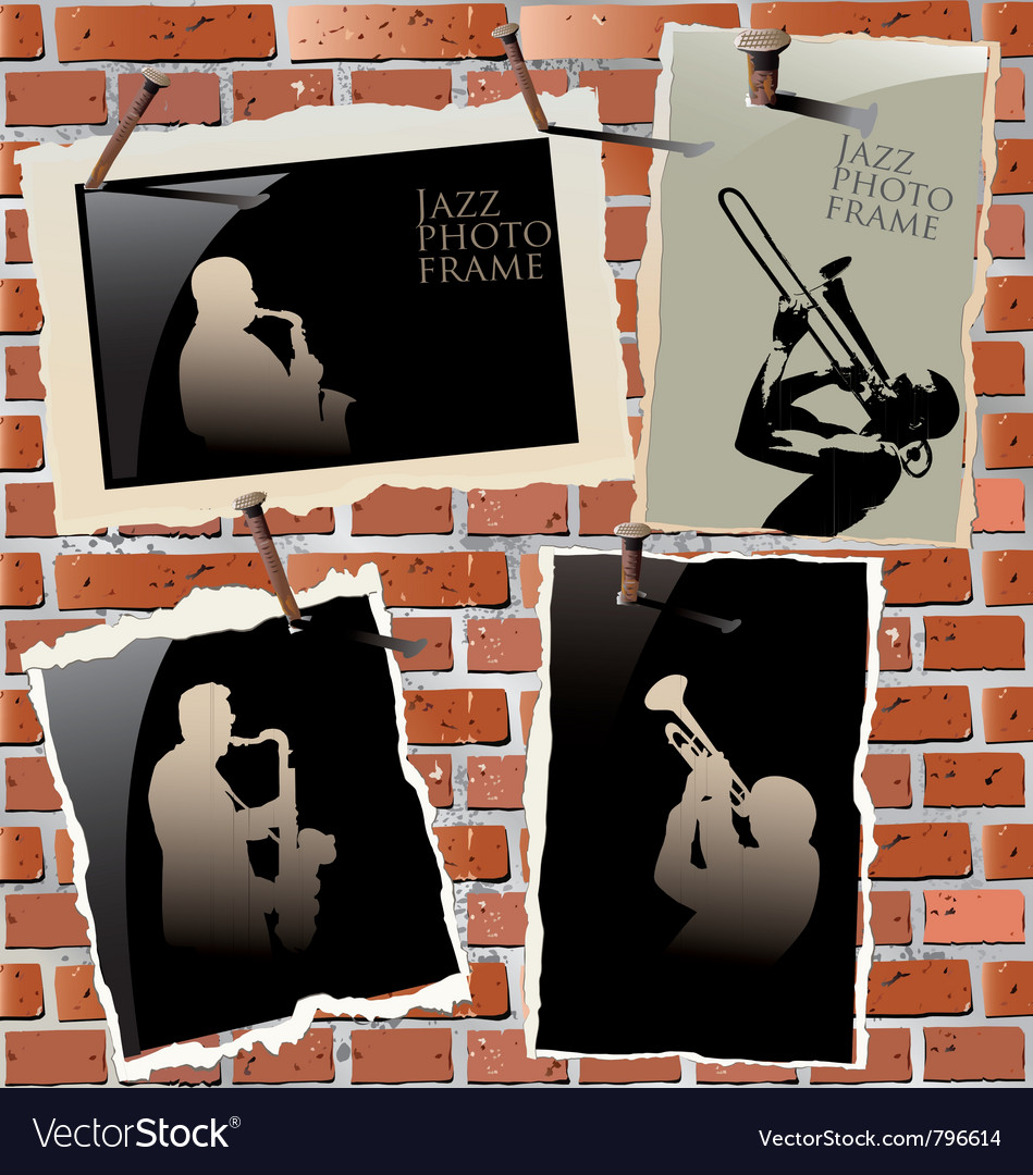 Jazz - photo frames on brick wall Vector Image